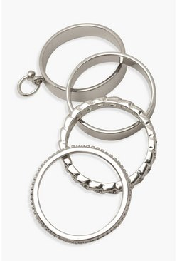 Silver Chain Stacking Rings