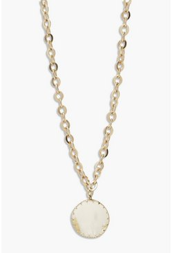 Gold metallic Scalloped Edge Charm Necklace