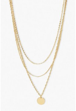 Gold metallic Smooth Disc Layered Necklace