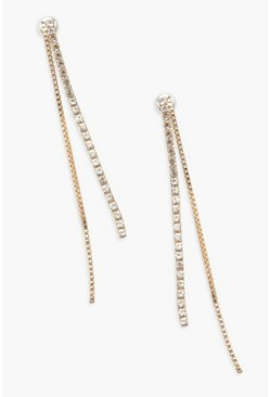 Gold metallic Diamante Chain Drop Earrings