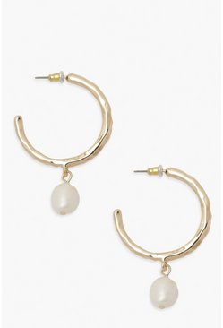 Gold metallic  Pearl Drop Hoop Earring