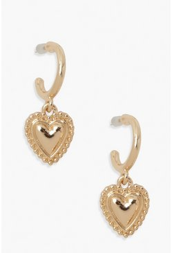 Gold metallic Heart Charm Hoop Earring