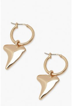 Gold metallic Tusk Charm Hoop Earring