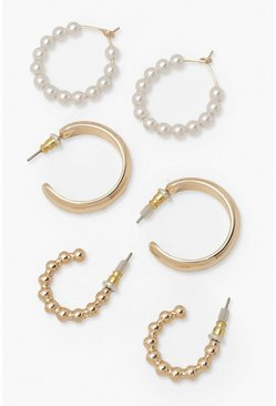 Gold metallic Pearl And Ball 3 Pack Hoops