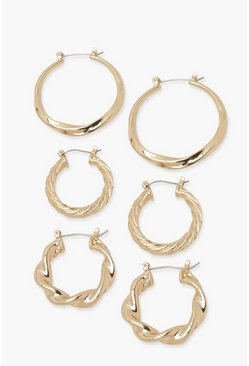 Gold metallic 3 Pack Twisted Hoops