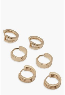 Gold metallic 3 Pack Mini Hoops