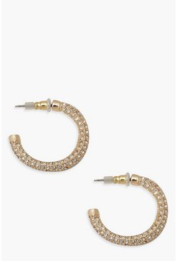 Gold metallic Diamante Hoop Earrings
