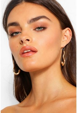 Gold metallic Pull Through Curved Earrings