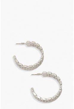 Silver Watch Link Hoop Earrings
