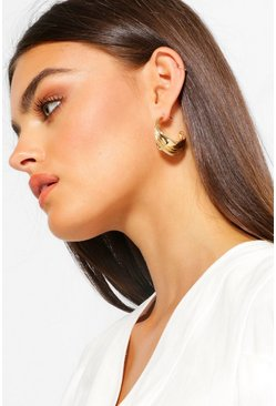 Gold metallic Molten Effect Hoops With Coloured Insert