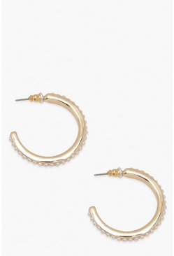 Gold metallic Pearl Edged Hoop Earrings