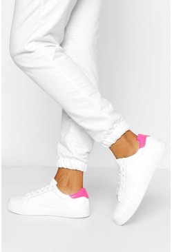 Pink Wide Fit Basic Lace Up Flat Trainers