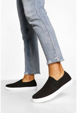 Black Wide Fit Basic Slip On Skater Trainers