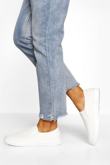 White Wide Fit Basic Slip On Skater Trainers