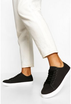 Black Wide Fit Basic Lace Up Canvas Trainers