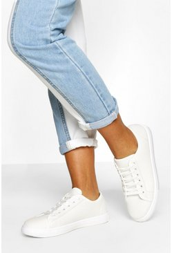 White Wide Fit Basic Lace Up Canvas Trainers