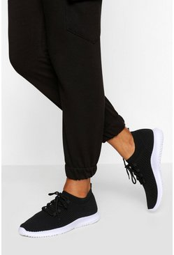 Textured Knit Sports Trainers, Black