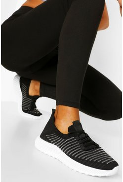 Stripe Detail Knitted Sports Trainers, Black noir