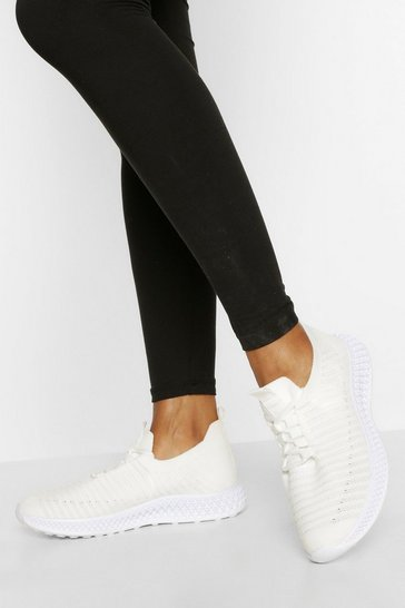 White Stripe Detail Knitted Sports Trainers