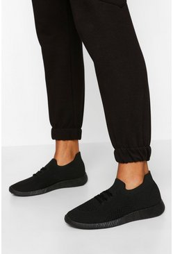 Basic Knitted Trainers, Black