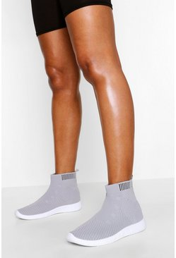 Knitted Sock Trainers, Grey