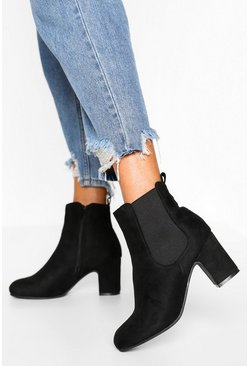 Black Wide Fit Block Heel Chelsea Boots