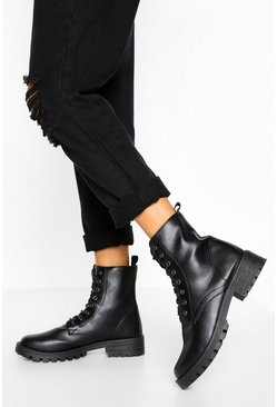 Black Wide Fit Lace Up Chunky Hiker Boots