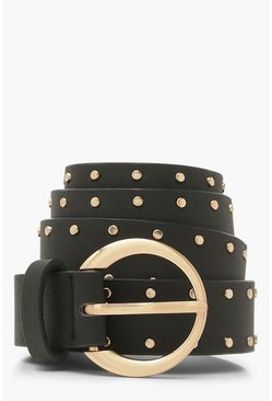 Black Studded Edge Ring Buckle Belt