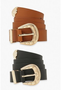 Multi 2 Pack Filigree Detail Buckle Belt