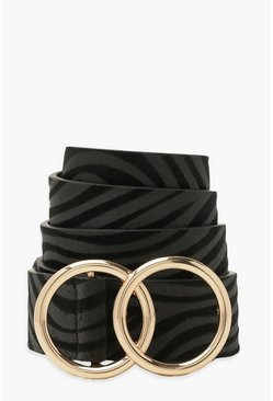 Black Double Ring Buckle Zebra Belt