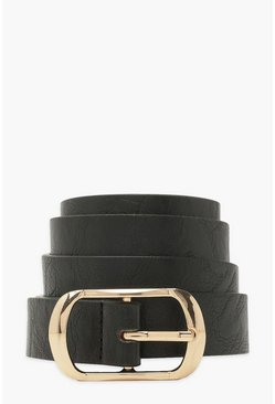 Black Rectangle Buckle Belt