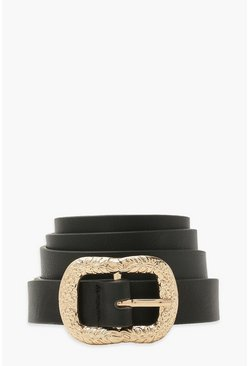 Black Textured Metal Square Buckle Belt