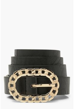 Black Chain Effect Buckle Belt