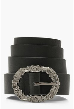 Black Vintage Look Buckle Belt