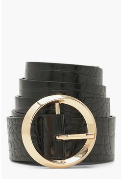 Black Croc Circle Buckle Belt