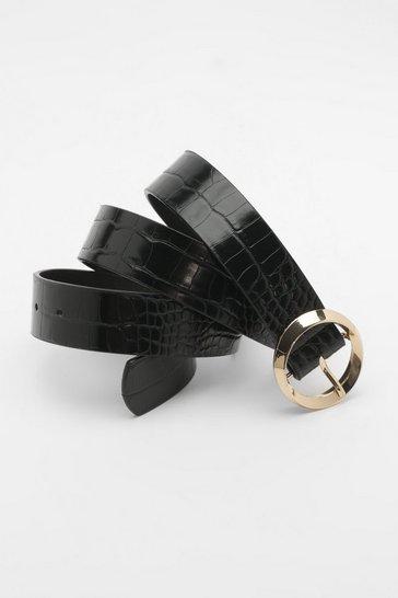 Black Croc Circle Buckle Belt