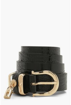 Black Patent Croc Lock Charm Belt
