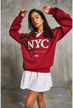 Berry röd Rugby Neck 2-in-1 'NYC' Sweat Dress