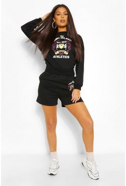 Black 'Long Island' Tie Back Sweater & Shorts Co-Ord