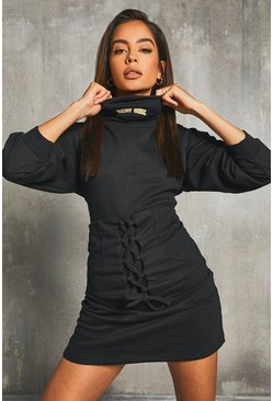 Black Snood Neckline Corset Sweat Dress