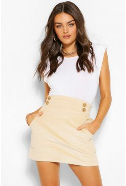 Ecru white Cord Pocket Mini Skirt