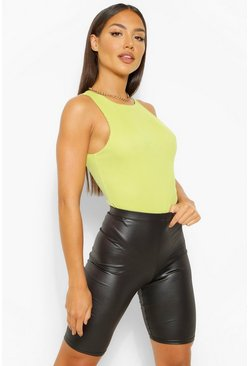 Black Wet Look High Waist Long Line Cycling Shorts