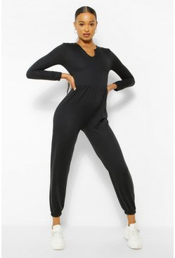 Black Notch Neck Loopback Long Sleeve Sweat Jumpsuit