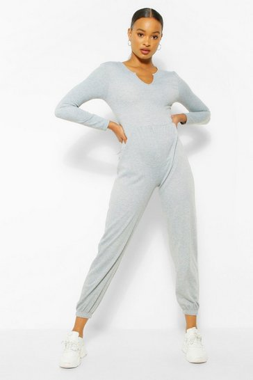 Grey marl grey Notch Neck Loopback Long Sleeve Sweat Jumpsuit