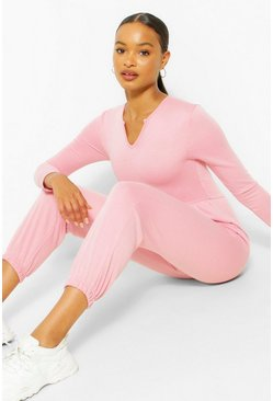 Rose pink Notch Neck Loopback Long Sleeve Sweat Jumpsuit