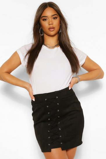 Black Suedette Lace Up Front Mini Skirt