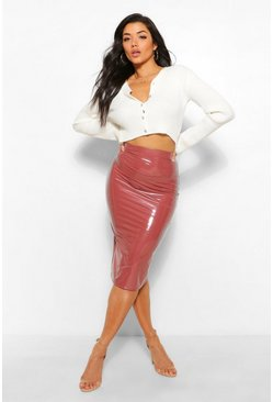 Rose pink Super Stretch Split Back Vinyl Midi Skirt