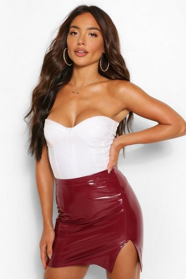 Berry red Super Stretch Vinyl Split Mini Skirt