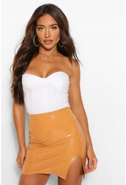 Caramel beige Super Stretch Vinyl Split Mini Skirt