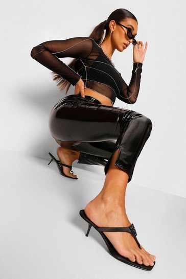 Black Super Stretch Vinyl Split Hem Leggings